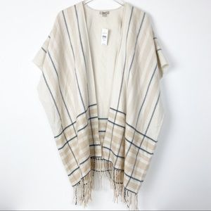 NWT Ann Taylor LOFT Plaid Fringe Wrap Sweater